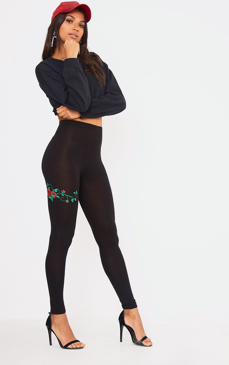 Black Rose Print Legging