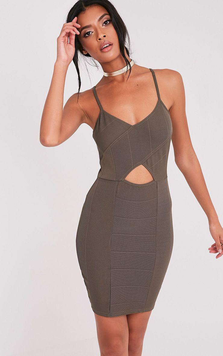 Sasia Khaki  Cross Front Bandage Mini Dress 1