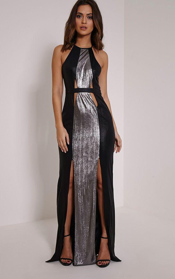 Lucinde Silver Metallic Maxi Dress 1