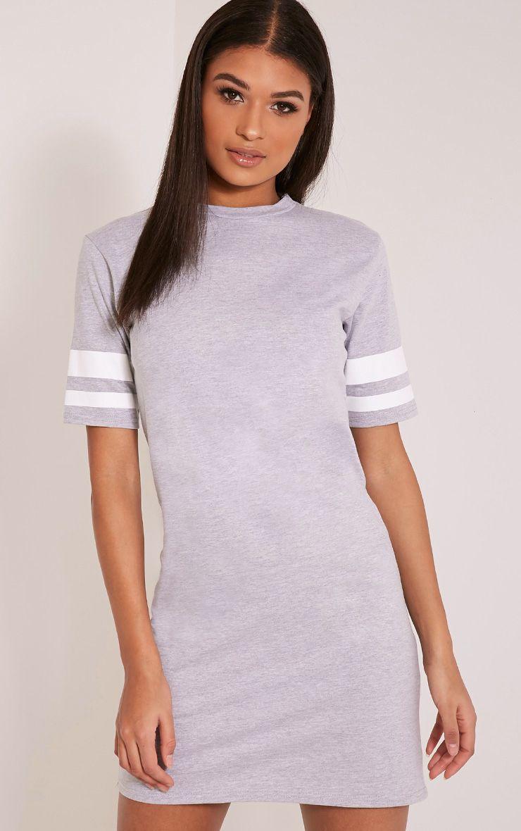 Taylia Grey Stripe Sleeve T Shirt Dress 1