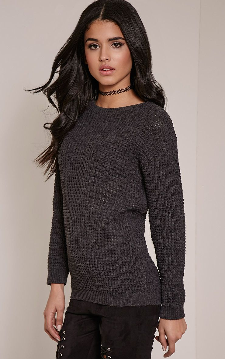 Alessandra Charcoal Oversized Knitted Jumper 1