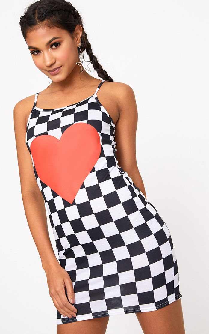 Black Check Board Heart Bodycon Dress