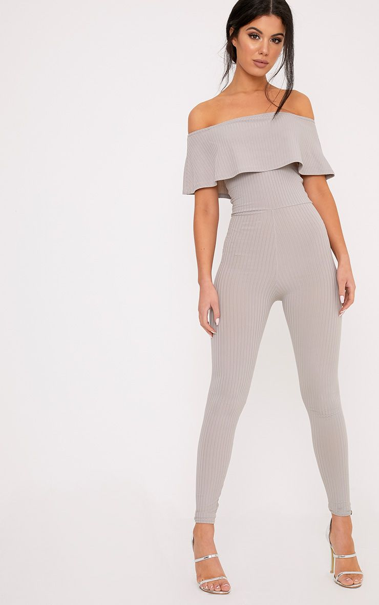Nancy Grey Bardot Ribbed Jumpsuit  1