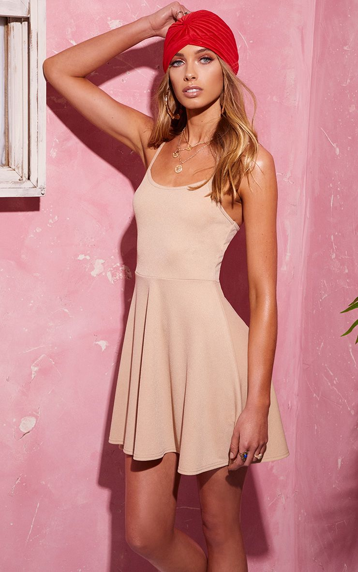 Basic Stone Strappy Skater Dress 1