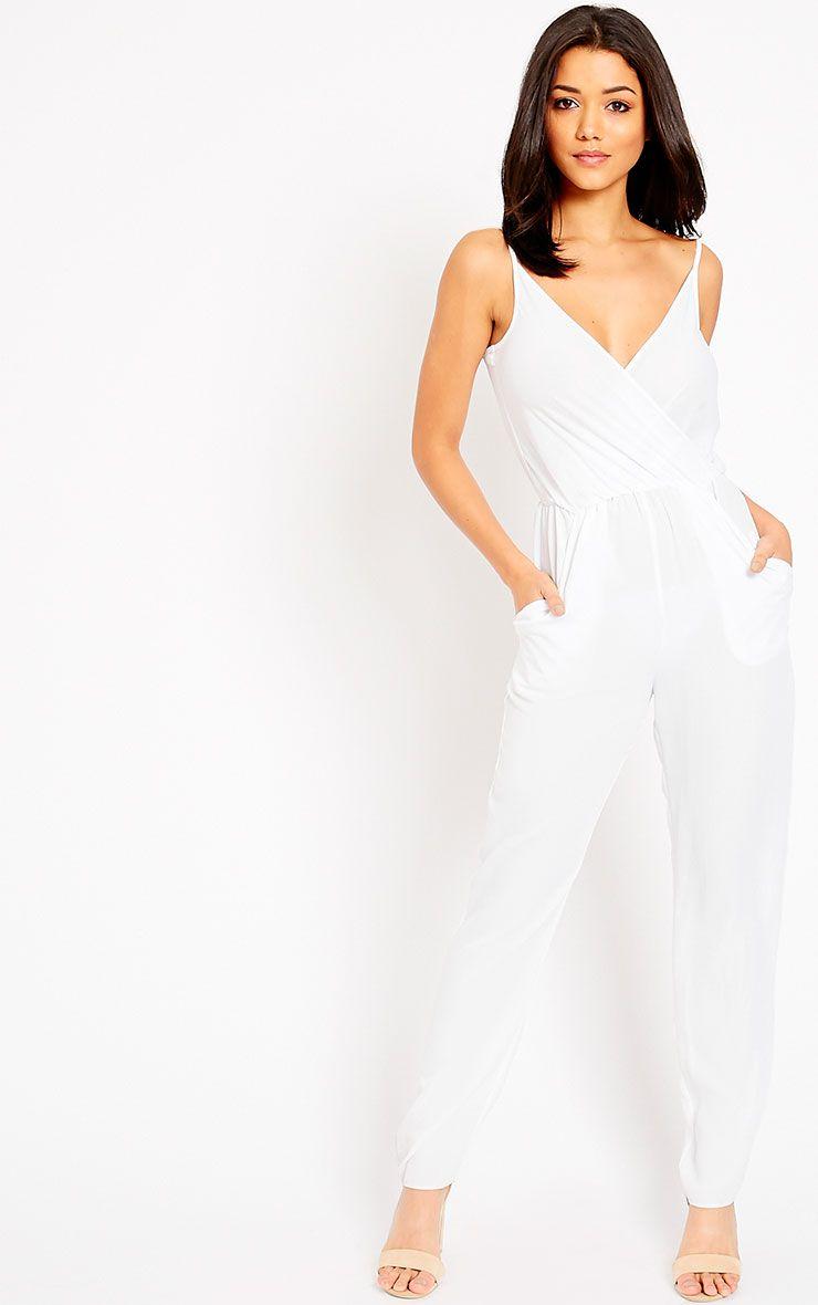 Jamelia White Wrap Front Jumpsuit 1