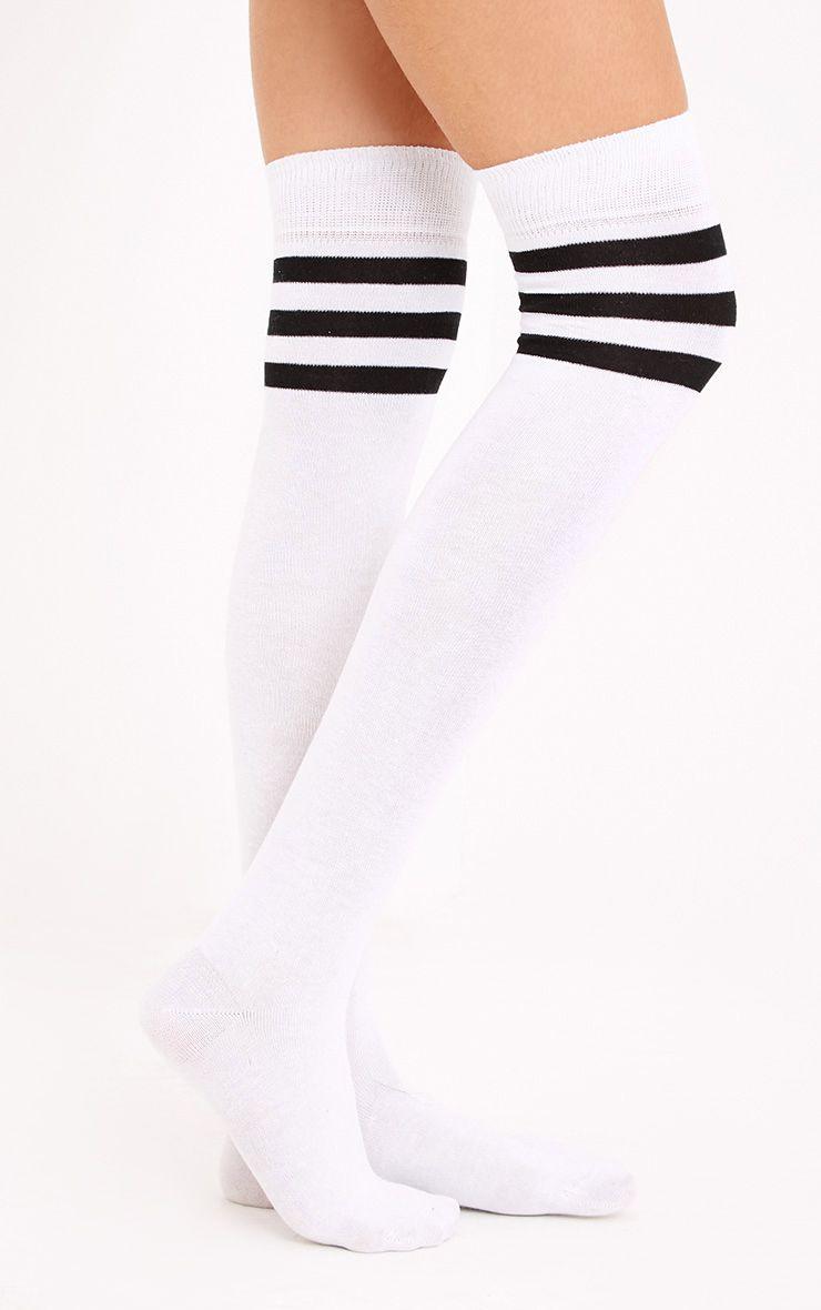 Black & White Striped Over The Knee Socks
