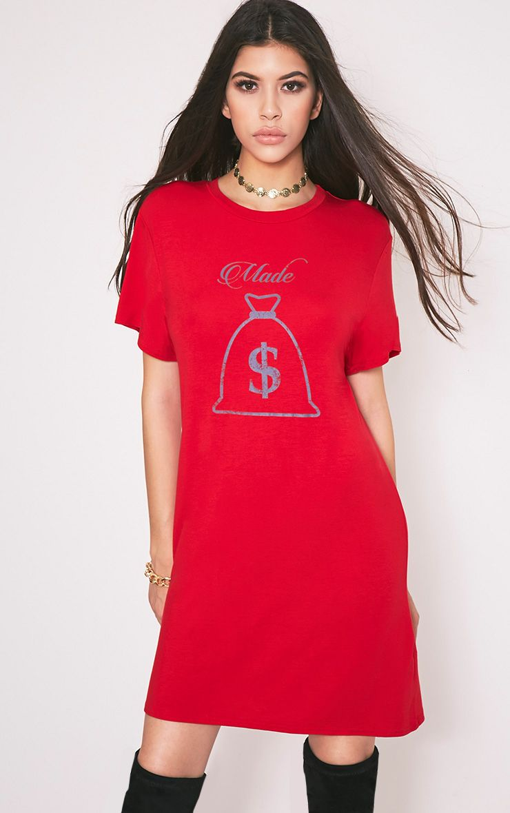 Made Money Slogan Red T Shirt Dress