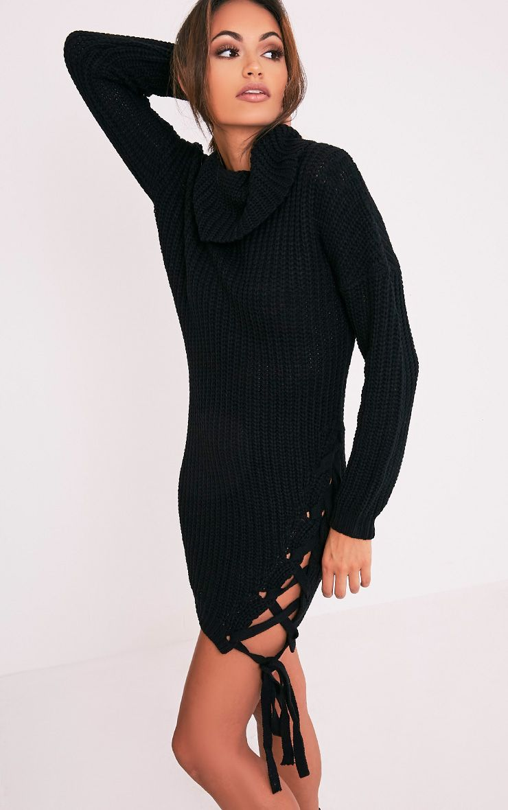 Millia Black High Neck Side Tie Detail Jumper 1