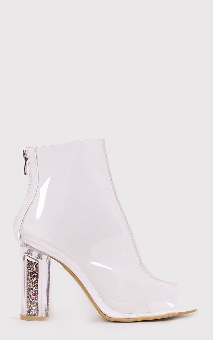 Viviana Clear Open Toe Perspex Heel Ankle Boots 1