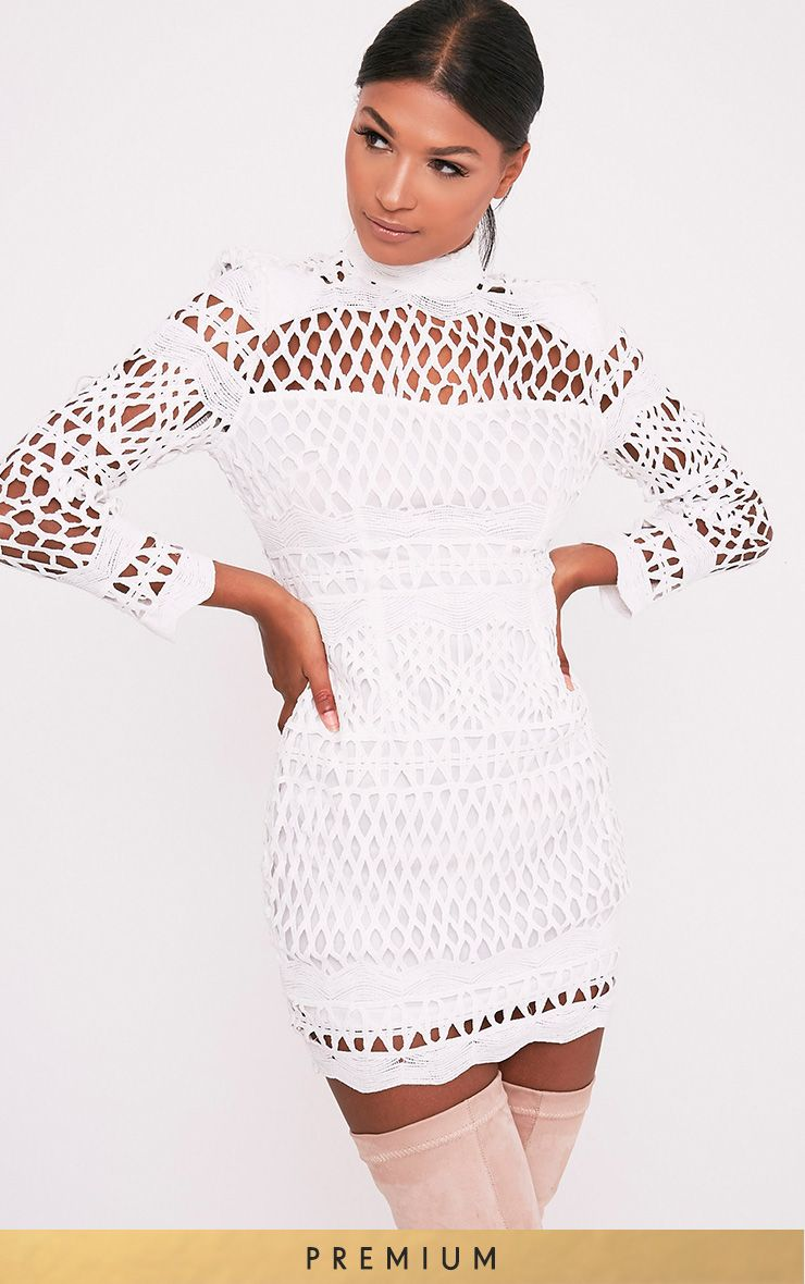 Lexi White Crochet Lace Long Sleeve Bodycon Dress DO NOT ENABLE 1