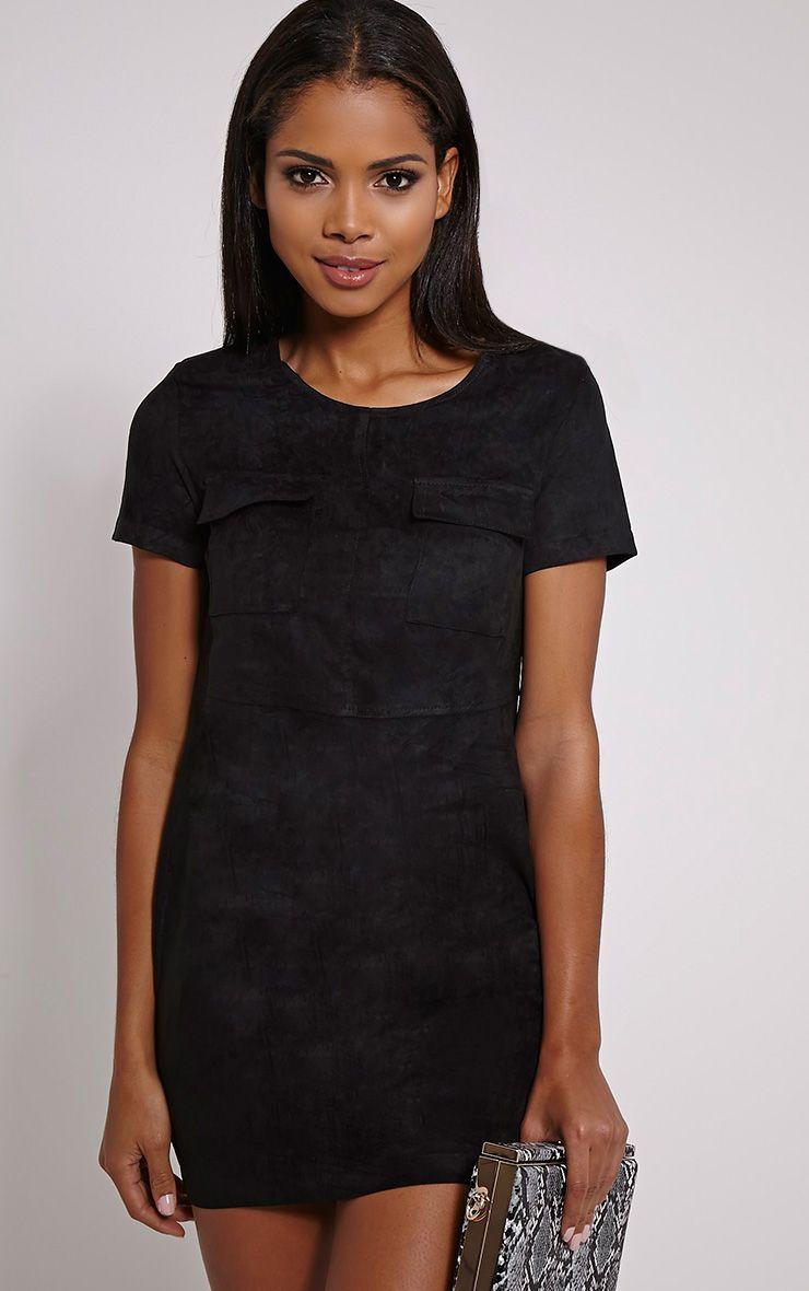 Shiloh Black Faux Suede Oversized Shift Dress 1