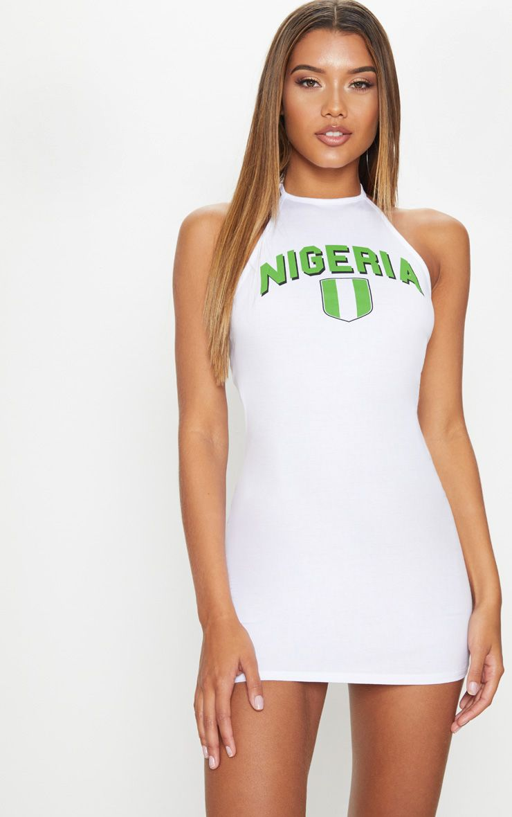Nigeria Halterneck White Bodycon Dress