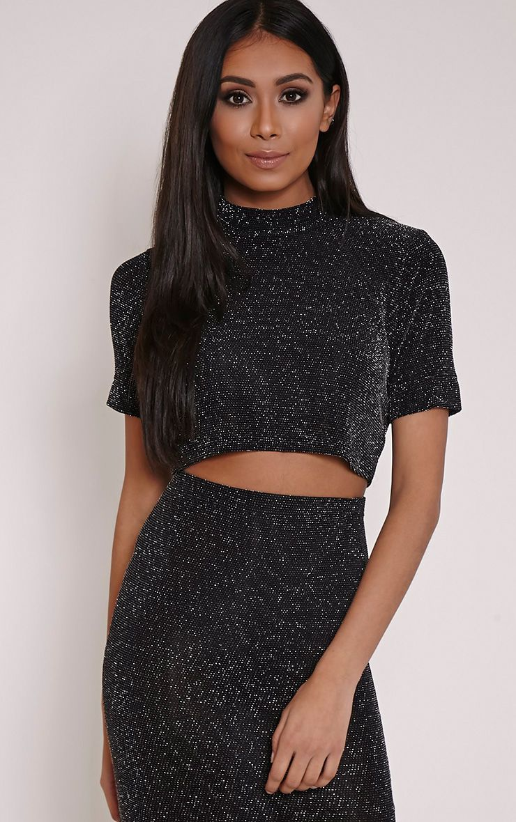 Tracey Silver Turtle Neck Lurex Glitter Crop Top 1