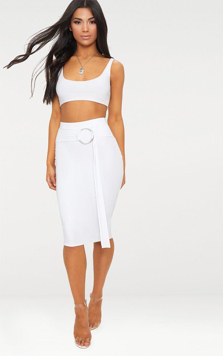 White Slinky O Ring Belt Midi Skirt