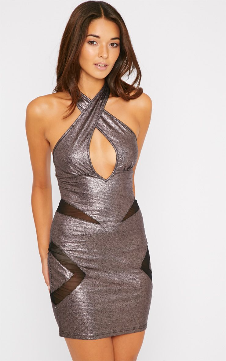Rhian Bronze Metallic Mesh Insert Halterneck Mini Dress 1