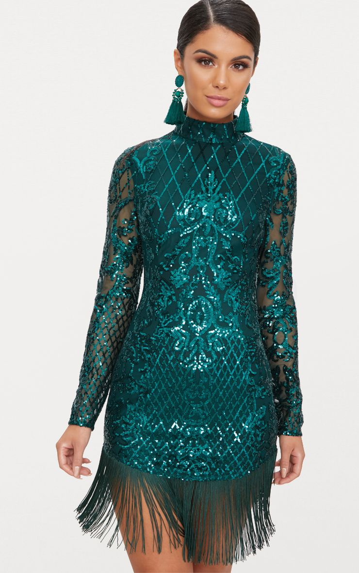 Emerald Green Sequin Long Sleeve Tassel Hem Bodycon Dress