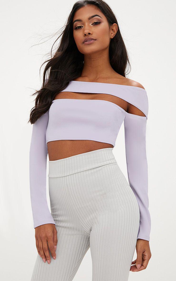 Lilac Cut Out Bardot Longsleeve Crop Top