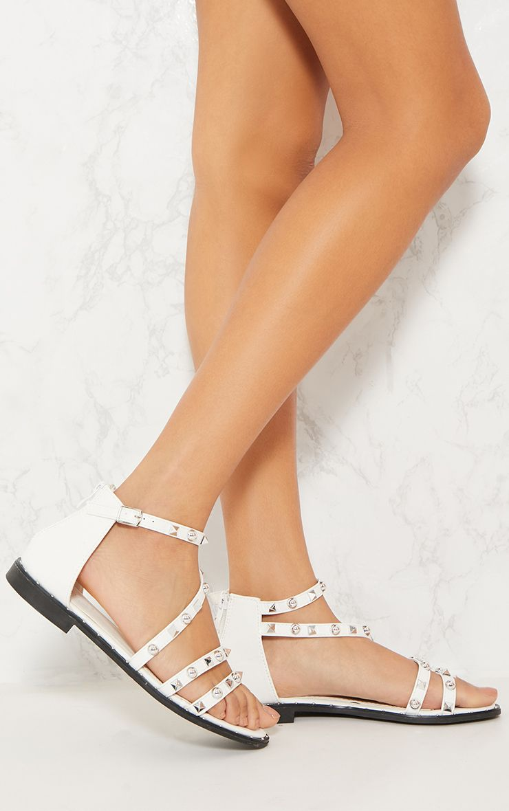 White Studded Strappy Flat Sandals