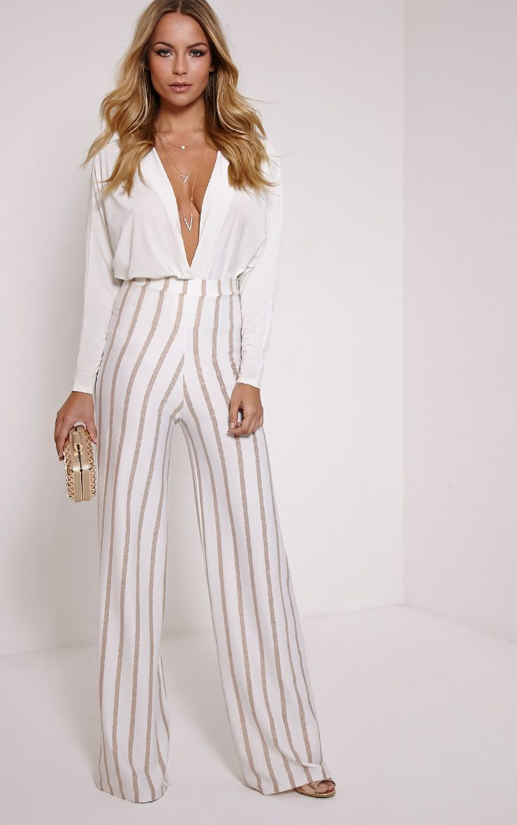 Isabel Cream Metallic Stripe Palazzo Trousers 1