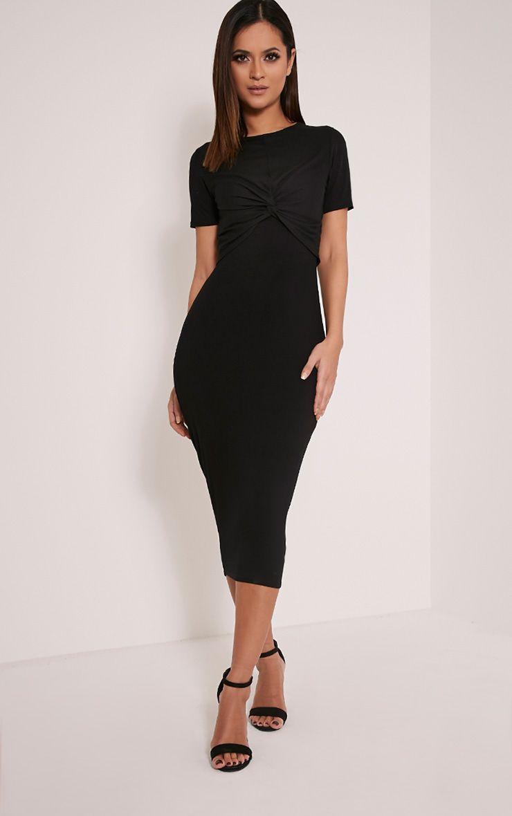 Larna Black Contrast Ribbed Knot front Dress 1