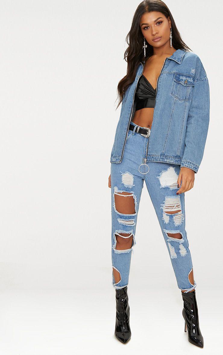 Mid Wash Ring Pull Oversized Denim Jacket