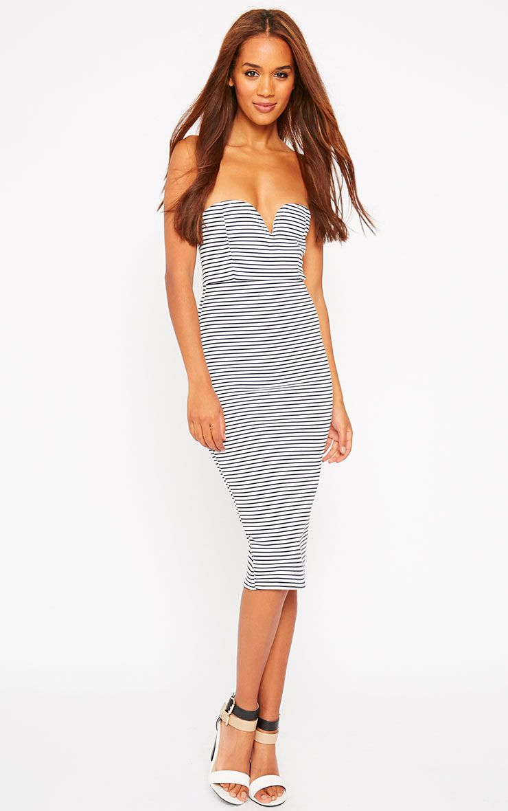 Zenda Stripe Bandeau Midi Dress 1