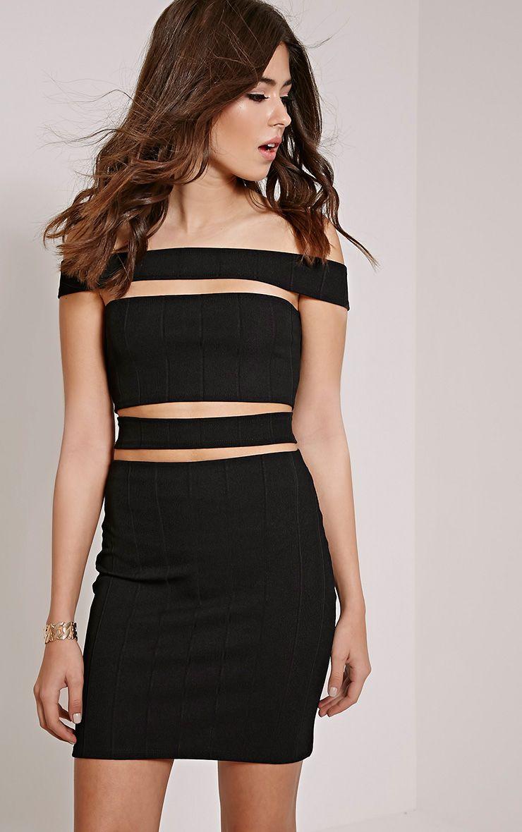 Morgan Black Bandage Cut Out Mini Dress