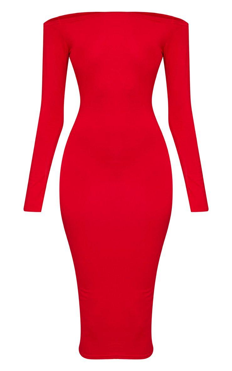 Basic robe midi bardot rouge en jersey 3