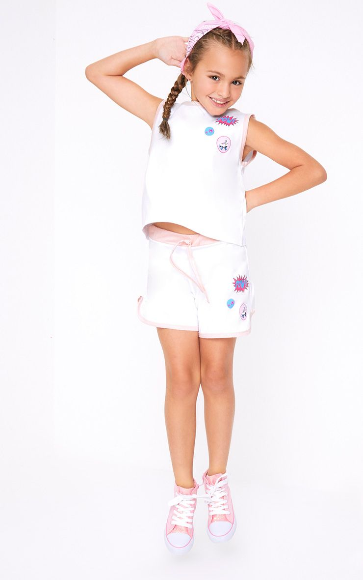 Badge Print Tie Waist White Shorts