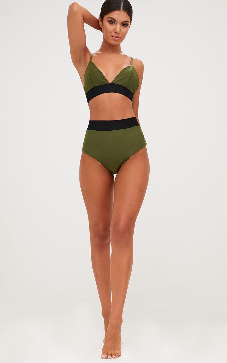 Khaki Contrast High Waisted Bikini Bottoms