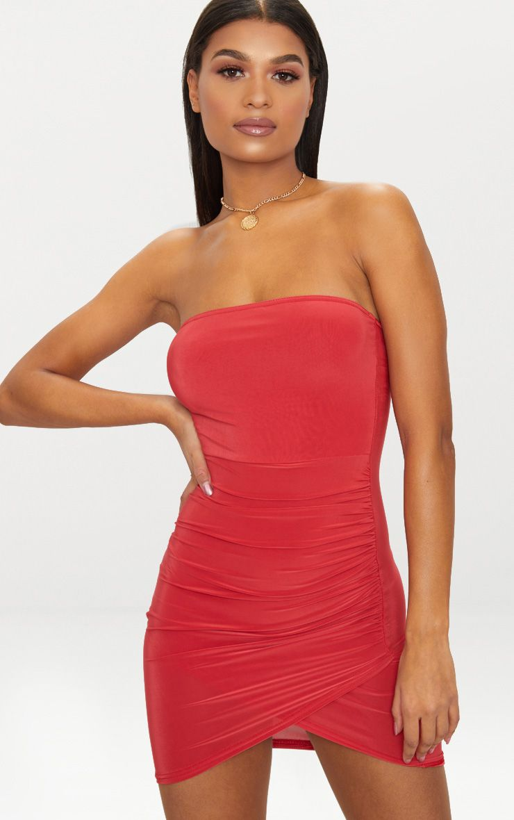 Red Bandeau Wrap Bodycon Dress