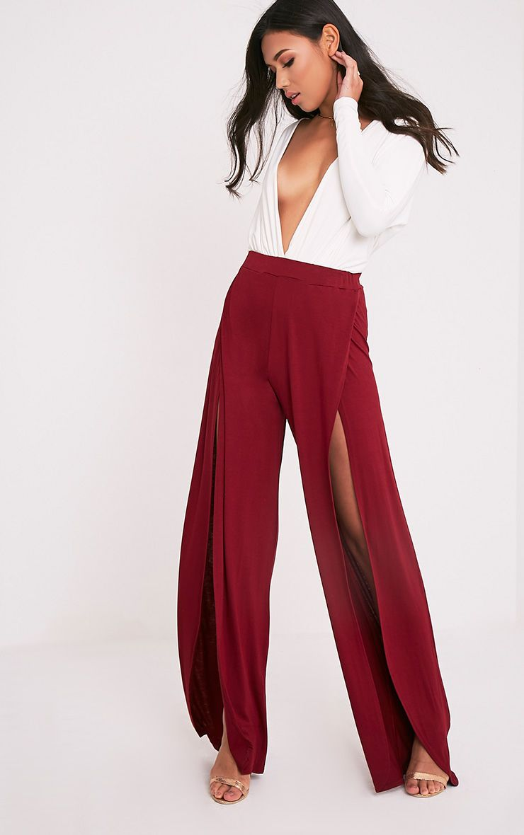 Mona Burgundy Split Jersey Trousers