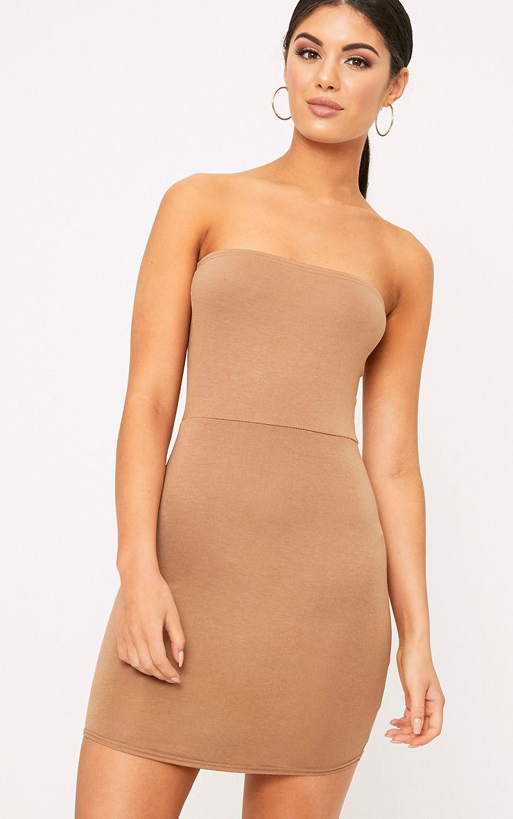 Camel Curve Hem Bandeau Bodycon Dress