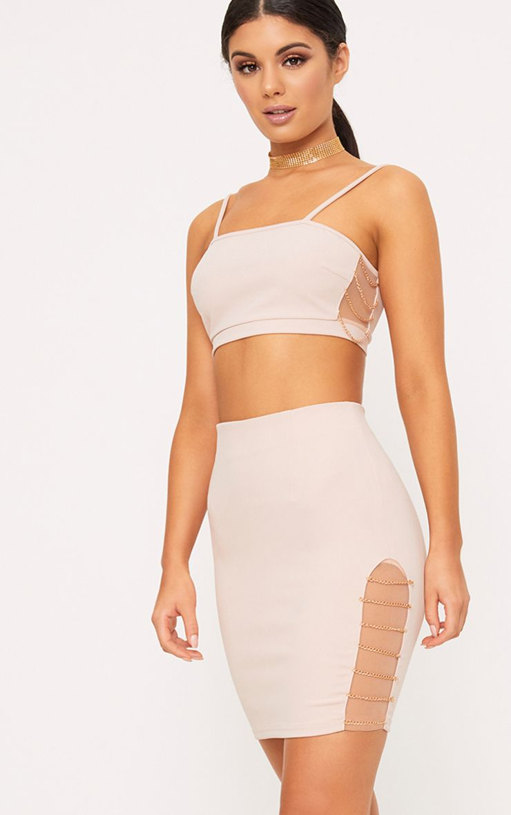Clea Nude Strappy Chain Detail Crop Top