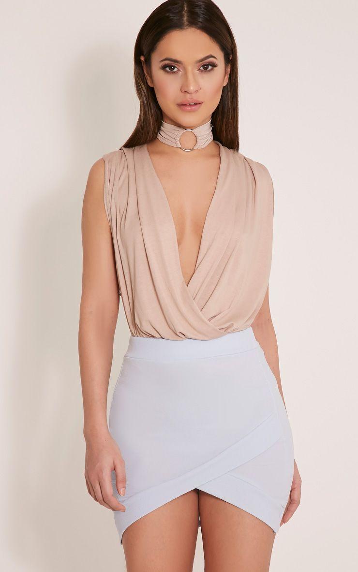 Gabriella Ice Blue Asymmetric Mini Skirt 1