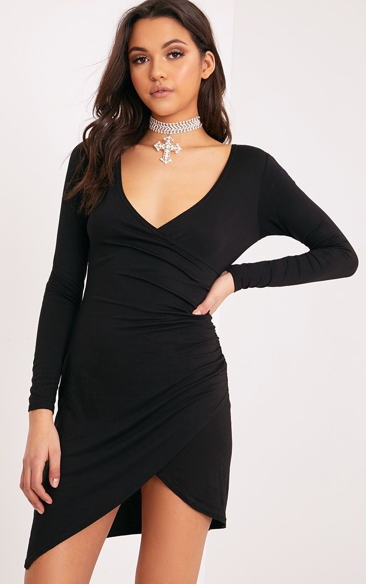 Kendi Black Wrap Mini Dress