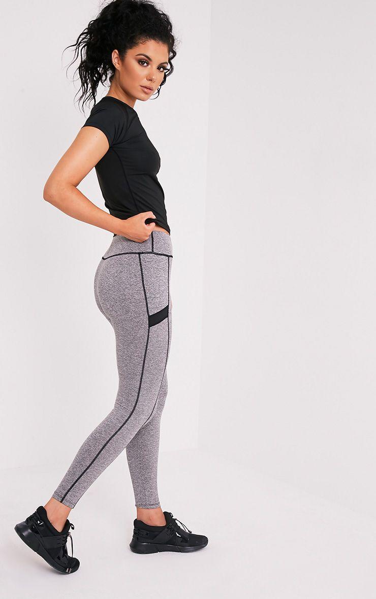 Alexis Grey Marl Panelled Gym Leggings 1