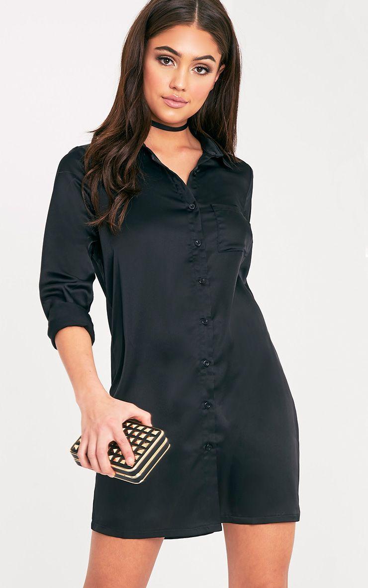 Layla Black Satin Shirt Dress