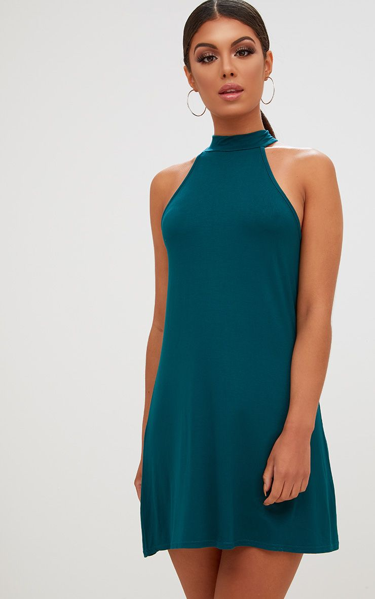 Forest Green Jersey High Neck Swing Dress