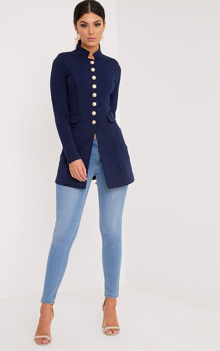 Deleana Navy Longling Military Style Jacket
