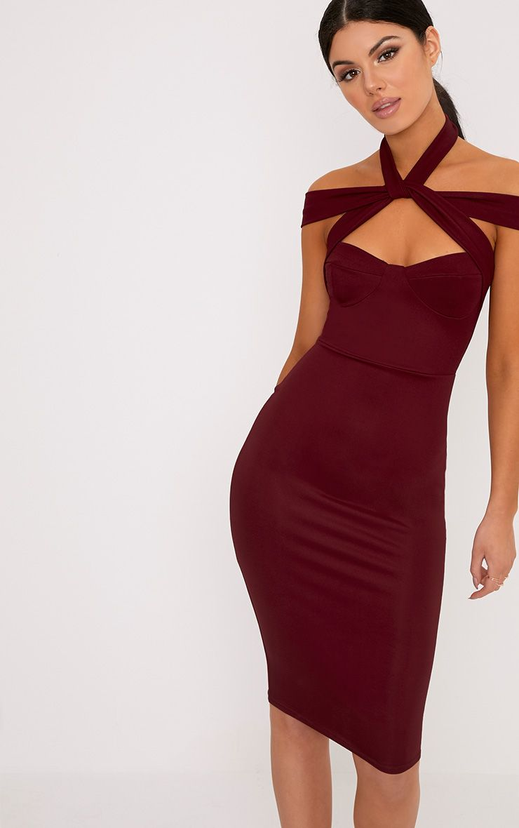 Pandara Burgundy Strappy Top Detail Midi Dress