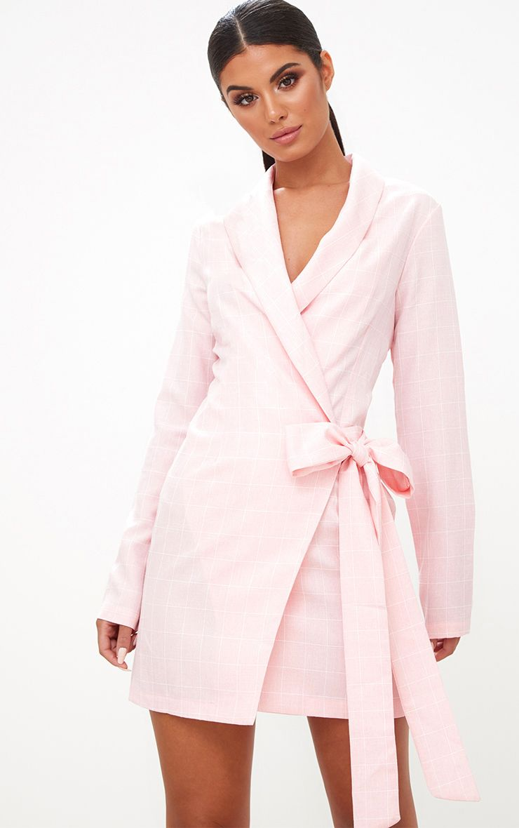 Pink Checked Blazer Dress