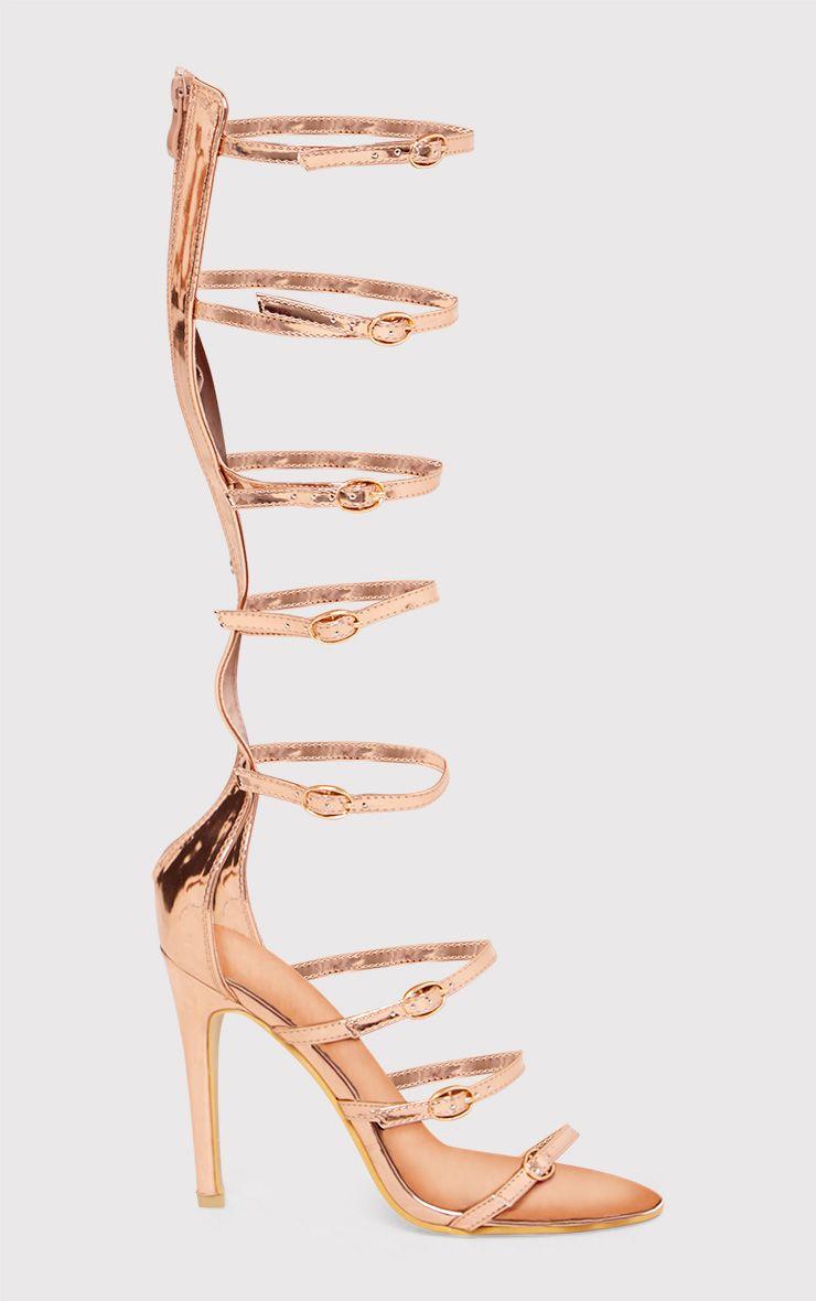 Josia Metallic Rose Gold Multi Strap Sandals 1
