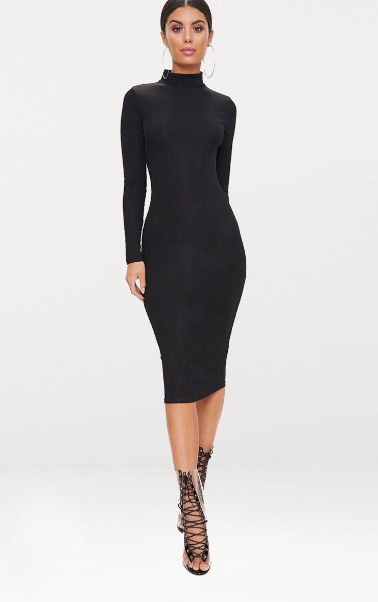 High Neck Dresses Turtleneck Dress Prettylittlething Usa