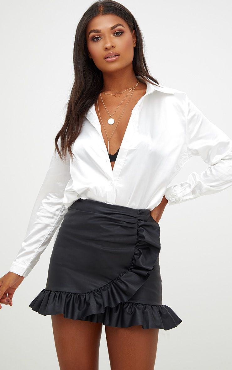 Black Faux Leather Frill Wrap Mini Skirt