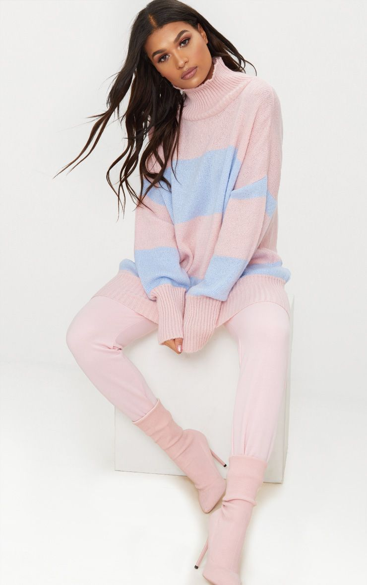 Pale Blue Stripe Oversized Knitted Jumper