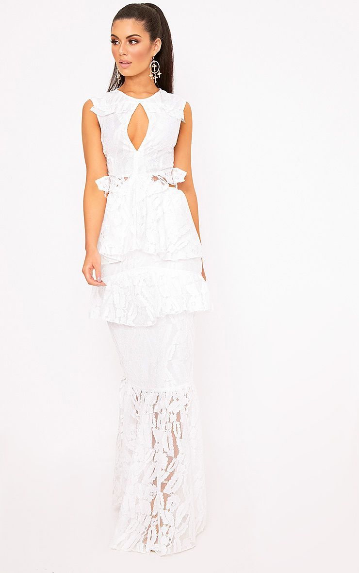 Katelyn White Lace Ruffle Detail Maxi Dress
