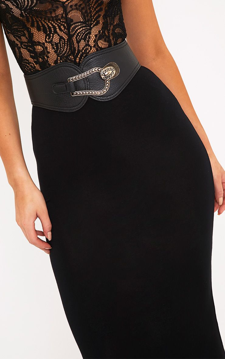 Reyla Black Front Clasp Wasit Belt