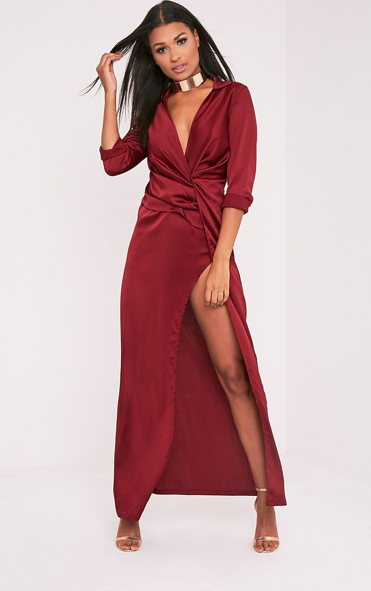 Alyssia Burgundy Twist Front Maxi Shirt Dress