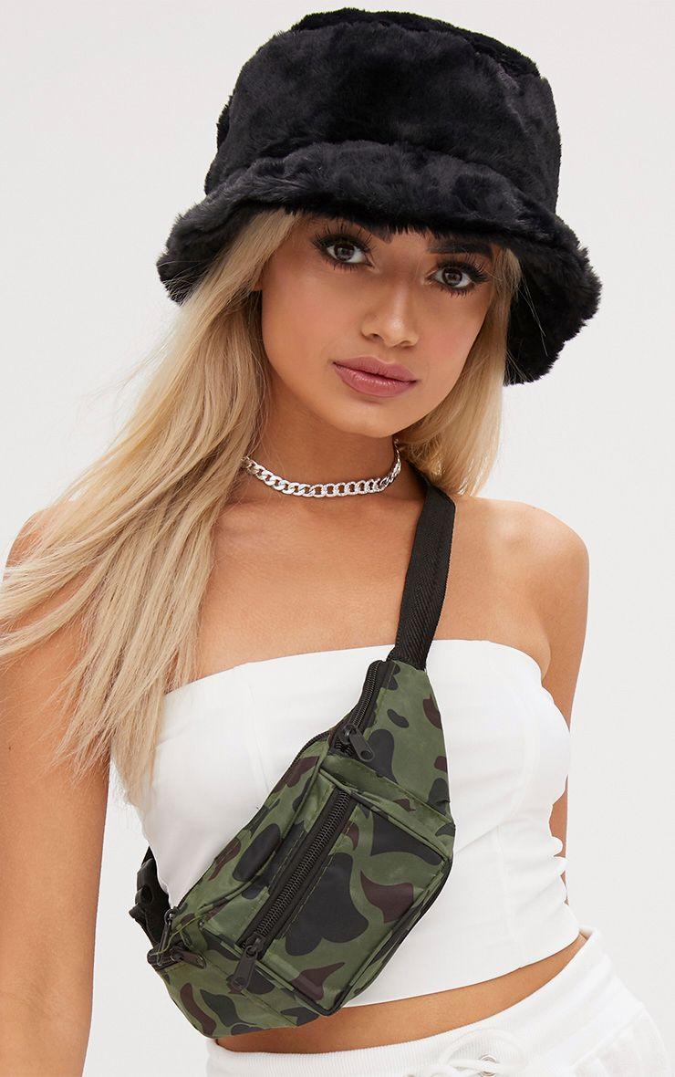 Black Fluffy Bucket Hat
